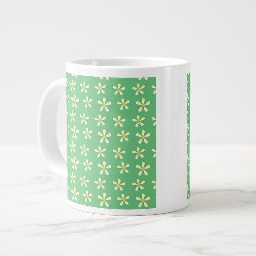 Daisy Pattern Yellow & White Daisies on Green Extra Large Mug