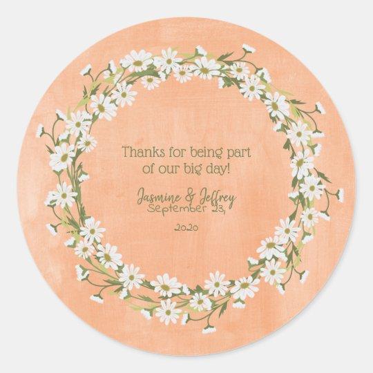 Daisy  U0026 Peach Floral Wedding Thank You Classic Round