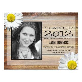 """Daisy Photo Graduation Invitation 4.25"""" X 5.5"""" Invitation Card"""