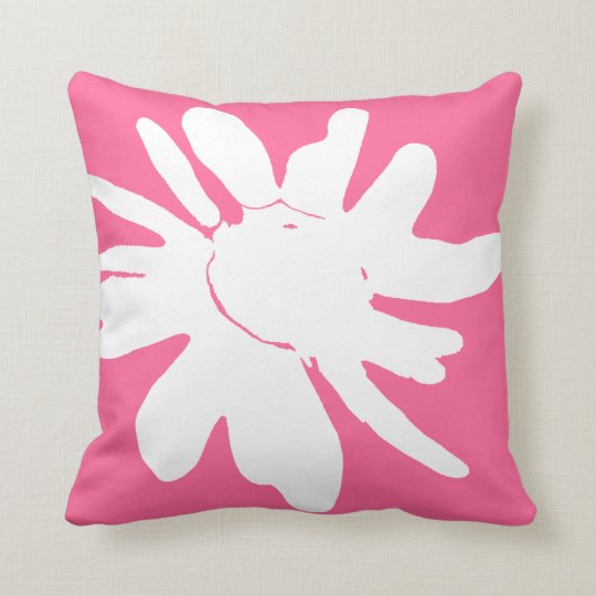 daisy print in white on pink background cushion