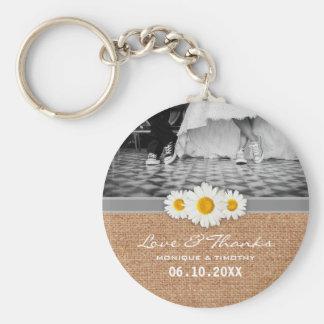 Daisy Ribbon - Burlap Gray & White Love and Thanks Basic Round Button Keychain