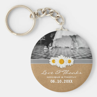 Daisy Ribbon Faux Rustic Country Paper Thanks Basic Round Button Key Ring