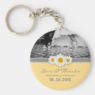 Daisy Ribbon - Yellow Gray & White Love and Thanks Basic Round Button Keychain