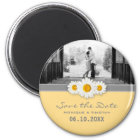 Daisy Ribbon - Yellow Grey & White Save the Date Magnet
