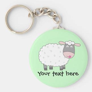 Daisy Sheep Basic Round Button Key Ring