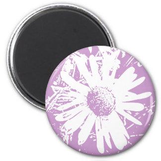 Daisy Stamp Design 6 Cm Round Magnet