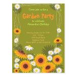 Daisy & Sunflower Garden Birthday Party Invitation Postcards