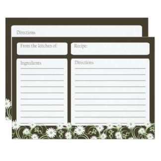 Daisy Tea Floral 5x7 Recipe Card 13 Cm X 18 Cm Invitation Card