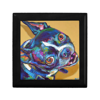 Daisy the Boston Terrier by Robert Phelps Small Square Gift Box