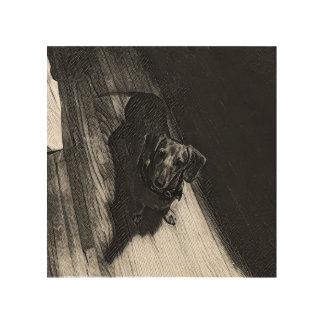Daisy the Dachshund on Wood Wood Print
