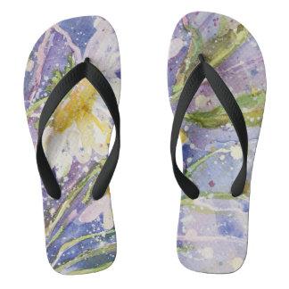 Daisy watercolor flip flops
