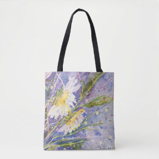 Daisy watercolor tote bag