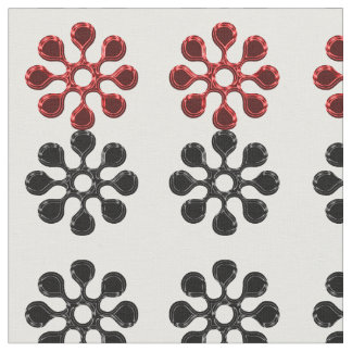 Daisy Wheel (Red and Black)  Fabric