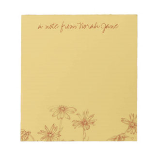 Daisy Wildflower Sepia Ink Drawing Personalized Notepad