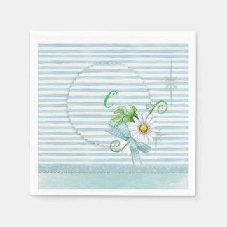 Daisy with Blue Stripes Paper Napkin