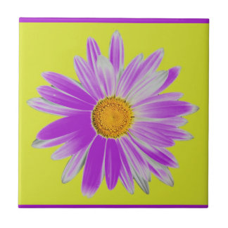 Daisy with lime green and purple background tile