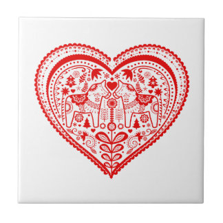 Dala Heart Small Square Tile