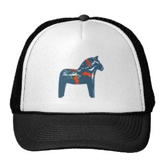 Dala Horse Blue Modern Art Sweden Mesh Hats