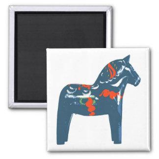Dala Horse Blue Modern Art Sweden Square Magnet
