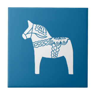 Dala Horse Blue Small Square Tile