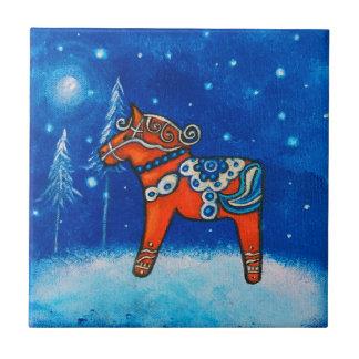 Dala Horse II Tile Coaster