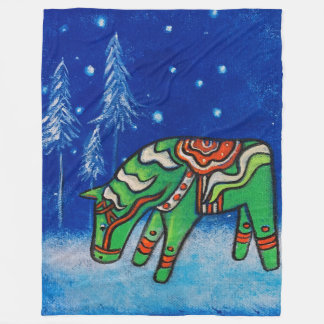 Dala Horse III Fleece Blanket