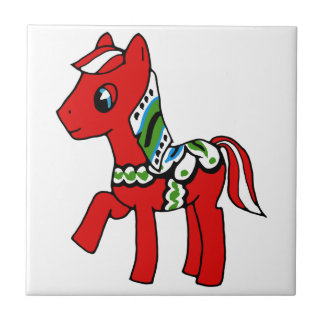 Dala Horse Pony Small Square Tile