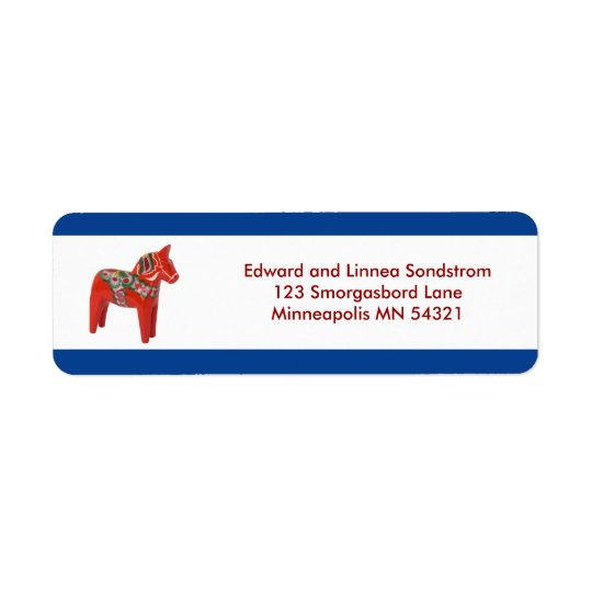 Dala Horse Scandinavia Return Address Label