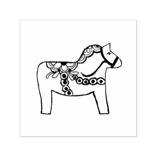 Dala Horse Self Inking Rubber Stamp