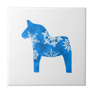 Dala Horse Snowflake Small Square Tile