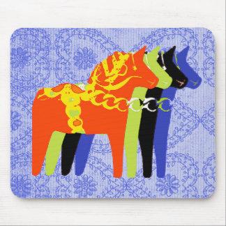 Dala Horse with blue folk background - Mouse Pad