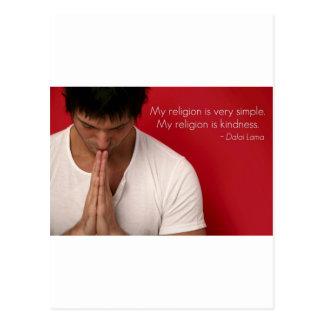 Dalai Lama 'my religion is kindness' quote Postcard