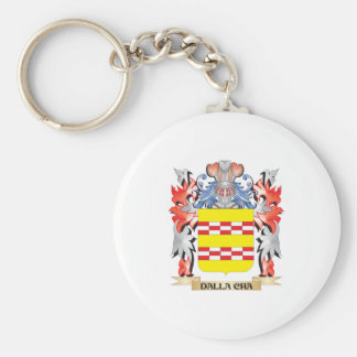 Dalla-Cha Coat of Arms - Family Crest Basic Round Button Key Ring