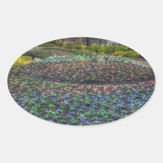Dallas Arboretum and Botanical Gardens flower bed Oval Sticker