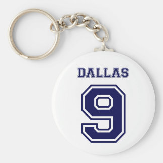 DALLAS BLUE NUMBER NINE BASIC ROUND BUTTON KEY RING
