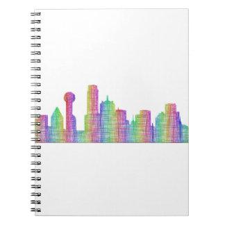 Dallas city skyline spiral note book