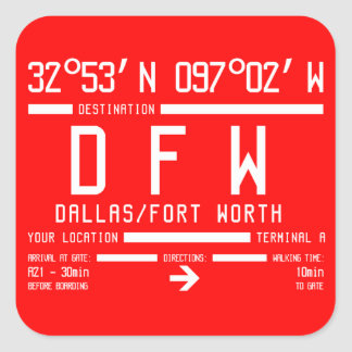Dallas/Fort Worth International Airport Code Square Sticker