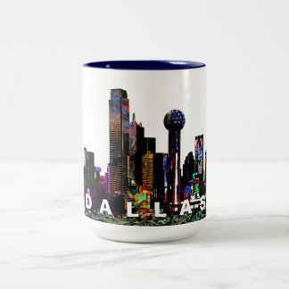 Dallas in graffiti Two-Tone coffee mug