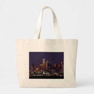Dallas Night Skyline Large Tote Bag