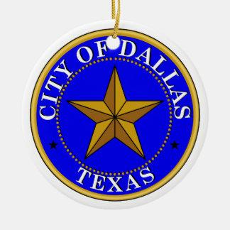 Dallas Seal Ceramic Ornament