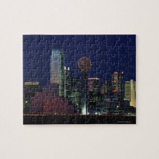 Dallas Skyline at Night Jigsaw Puzzle
