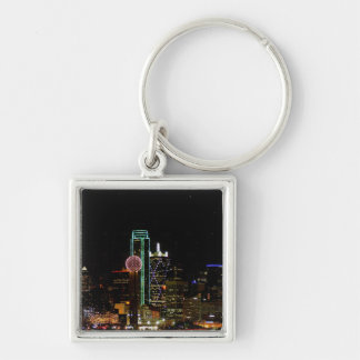 Dallas Skyline at Night Silver-Colored Square Key Ring