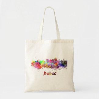 Dallas skyline in watercolor tote bag