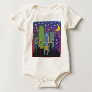 Dallas Skyline nightlife Baby Bodysuit