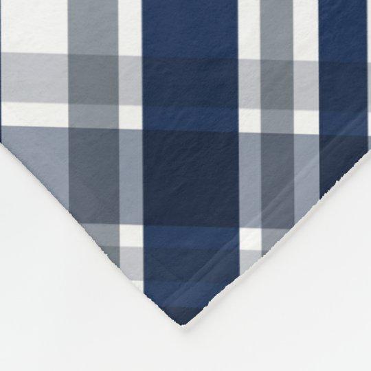 Dallas Sports Fan Navy Blue Silver Plaid Striped Fleece Blanket