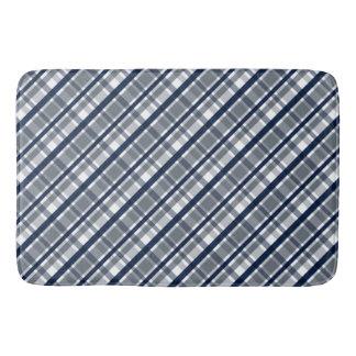 Dallas Sports Fan Silver Navy Blue Plaid Striped Bath Mat