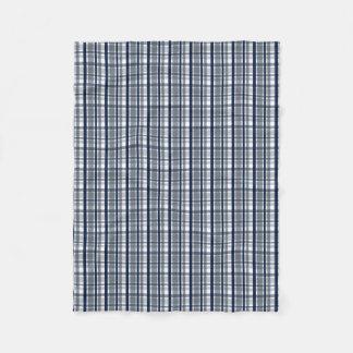 Dallas Sports Fan Silver Navy Blue Plaid Striped Fleece Blanket