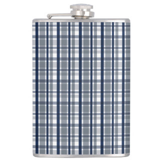 Dallas Sports Fan Silver Navy Blue Plaid Striped Hip Flask