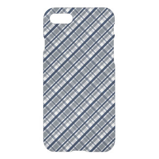 Dallas Sports Fan Silver Navy Blue Plaid Striped iPhone 8/7 Case