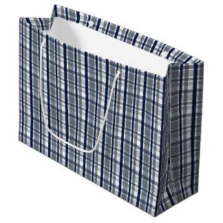 Dallas Sports Fan Silver Navy Blue Plaid Striped Large Gift Bag